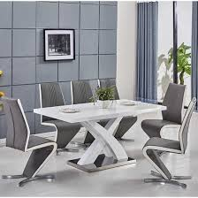 axara extendable small dining table white gloss and 4 gia chairs