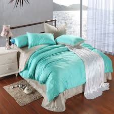 bright turquoise silver plain colored simply chic noble excellence luxury unique color block 100 tencel full queen size bedding sets