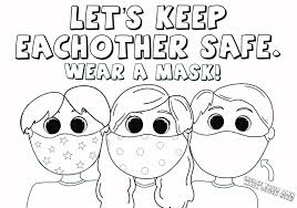 Free printable coloring pages for children that you can print out and color. Kids Wearing Face Masks Coloring Page Love Woolies