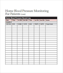 Blood Pressure Forms For Tracking Sample Blood Pressure Log 7 Free Pdf Download Documents Free