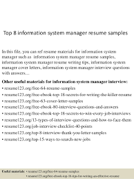 top 8 information system manager resume samples in this file you can ref resume materials information system officer resume