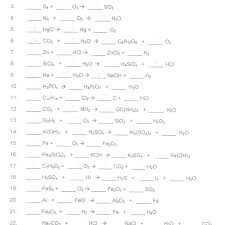 balancing chemical ions worksheets with answers reactions types of worksheet writing and practice chemistry problems equations