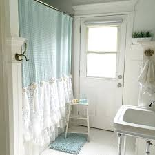 bohemian shower curtain blue and white lace bathroom shower curtain in white bathroom with blue rug bohemian shower curtain