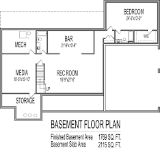 Low Cost Single Story  Bedroom House Floor Plans Country Farm  SF - Bathroom in basement cost