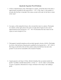 quadratic word problems worksheet doc kidz activities