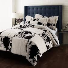 printing pv velvet quilt cover set cow incluidng 1 duvet cover 2 pillowsham color black brown white size twin 68x86 inch