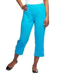 Bob Mackie Capri Blue Stretch Ponte Knit Crop Pants Plus