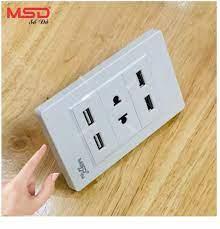 SẠC ĐIỆN THOẠI ÂM TƯỜNG 4 USB + 1 Ổ CẮM ĐIỆN 2 CHẤU - C3-4USB-1SO2P-W