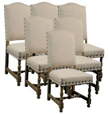 6 new dining chairs spanish style wood frame linen fabric upholstery nailhead