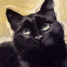 black cat original oil painting by diane irvine armitage