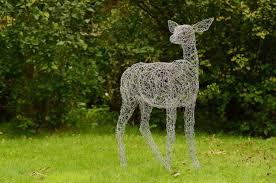 cool wire deer sculpture made from galvanised wire sculpture with garden sculptures