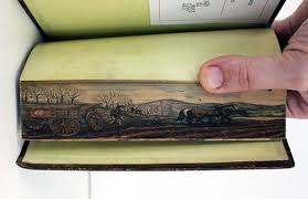 this was done through a technique called fore edge painting which is an ilration that is hidden on the edge of the pages of the book