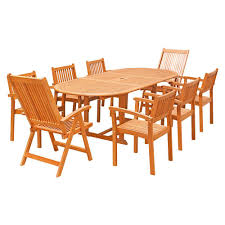 malibu 8 seater patio furniture set. eco-friendly 9-piece wood outdoor dining set with oval extension table malibu 8 seater patio furniture e
