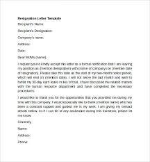 Resignation Template Resignation Letter Template Sample Resignation Letter Template
