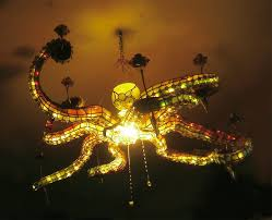 stained glass octopus chandelier eight arms to light you