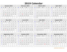 Free Download Printable Calendar 2019 In One Page Clean Design