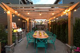Ideas For Hanging Patio String Lights Hang Patio Backyard String Light Decorating With Outdoor