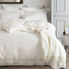 100 egyptian cotton bedding set white luxury embroidered duvet cover set king queen bed sheet bedsheet bedline funda nordica in bedding sets from home