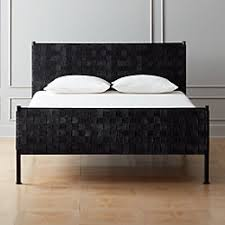 Modern bed Queen Size Woven Black Suede Bed Cb2 Modern Beds Bed Frames And Headboards Cb2
