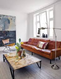 warm and cool, brown leather and gray-blue painting -- the home of ...