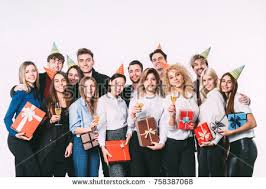 Corporate Celebration Corporate Celebration Holidays Concept Happy Team Stock Photo