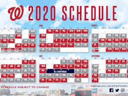 Nationals announce 2020 schedule. The ...