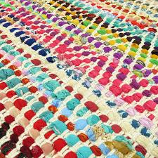 sentinel 2 x 3 ft colorful chindi woven area rag rug multicolor white floor mat bohemian