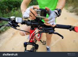 Action Camera Mounted On Mountain Bike Stock Photo 760218700
