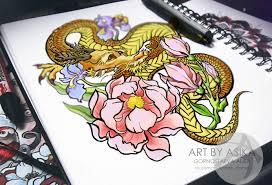 сообщество иллюстраторов иллюстрация дракон эскиз тату япония