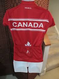 Details About Womens Primal Wear Canada Cycling Jersey Size Medium 3 4 Zip Maple Leaf