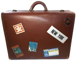 details about vintage hartmann knocabout leather suitcase luggage with travel stickers decals