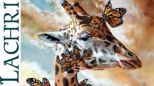 sd painting giraffe erflies and clouds in oil over acrylic time lapse demo by lachri you
