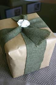 Gift Wrap - Craft Paper with Burlap Ribbon and Porcelain Package Tie ...