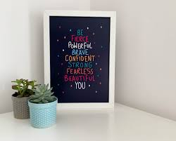 Be Fierce Be You Print A4 Poster Quote Print Motivational Print Strong Women Quote Wall Art