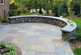 Retaining Wall Seating Curved Fieldstone Ledge Sitting Wall With Bluestone Cap Google