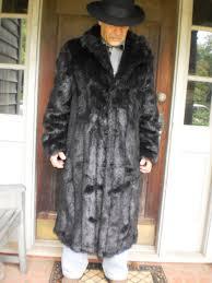 mens fur coat full length faux mink fur over coat long large