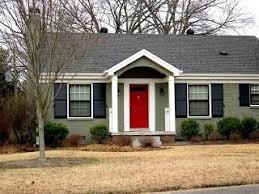 sage olive house red door black shutters cream trim not bad