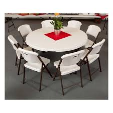 round folding table and chairs set lifetime 4 round tables 32 chairs set white commercial grade