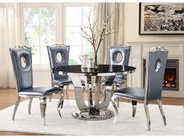 black tempered glass chrome round dining table set