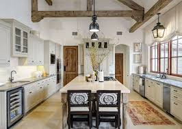 kitchen brown tile backsplash white solid slab granite countertop cape cod style furniture log cabin kitchen
