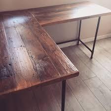 L Shaped Desk - Reclaimed Wood Desk - Pipe Legs