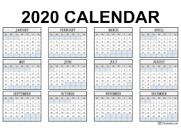 Free Printable Year 2020 Calendar 123calendars Com