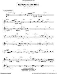 beauty and the beast sheet music shorter beauty and the beast sheet music for soprano saxophone