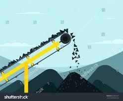 Coal Belt Conveyor Design Conveyor Belt With Coal Mining Industry Vector Illustration