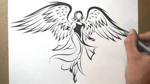 Angel Sketch How To Draw An Angel Tribal Tattoo Design Style