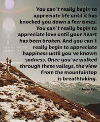 You Can't Really Begin To Appreciate Life Until It Has Knocked You Stunning Appreciate Life Quotes