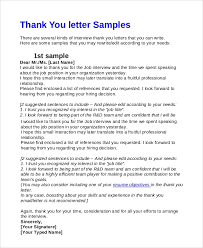 Interview Letters Samples Sample Interview Thank You Email 7 Examples In Pdf Word