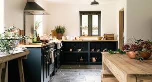 custom country kitchen cabinets. Gorgeous Modern Country Kitchen With Dark Blue Cabinets - Found On Hello Lovely Studio Custom