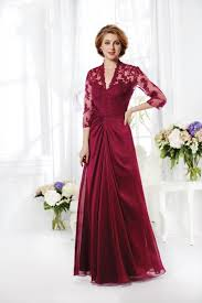 Elegant V Neck Floor Length Burgundy Chiffon Mother Of The Bride Dress |  Evening dresses with sleeves, Ball gown wedding dress, Long mothers dress