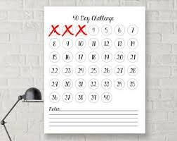 24 Day Challenge Chart 100 Day Challenge Digital Download Instant One Hundred Etsy